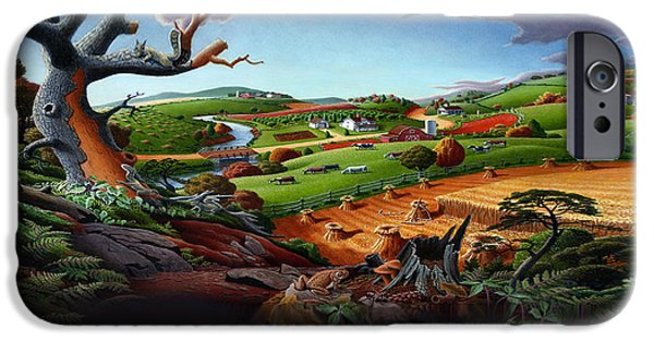 Appalachian Fall Thanksgiving Wheat Field Harvest Farm Landscape Painting - Rural Americana - Autumn IPhone Case by Walt Curlee