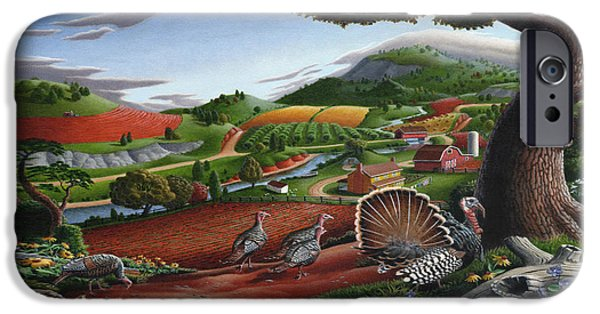 Wild Turkeys Appalachian Thanksgiving Landscape - Childhood Memories - Country Life - Americana IPhone 6s Case by Walt Curlee