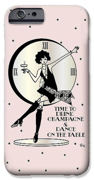 Time To Drink Champagne And Dance On The Table 1920s Gatsby Flapper Girl Pink IPhone Case by Cecely Bloom