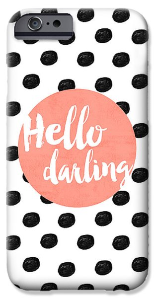 Hello Darling Coral And Dots IPhone Case by Allyson Johnson