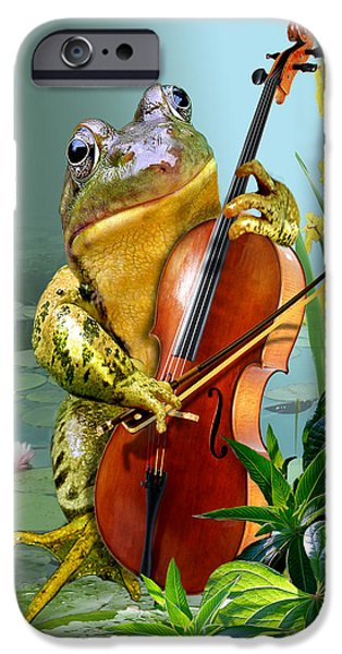 Humorous Scene Frog Playing Cello In Lily Pond IPhone Case by Gina Femrite