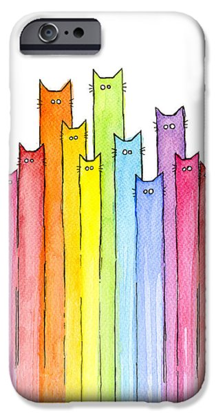 Cat Rainbow Pattern IPhone Case by Olga Shvartsur