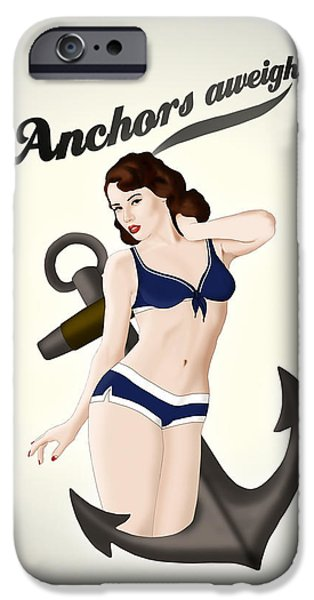Anchors Aweigh - Classic Pin Up IPhone Case by Nicklas Gustafsson