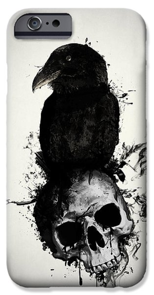 Raven And Skull IPhone Case by Nicklas Gustafsson