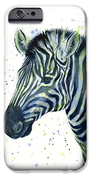 Zebra Watercolor Blue Green  IPhone Case by Olga Shvartsur
