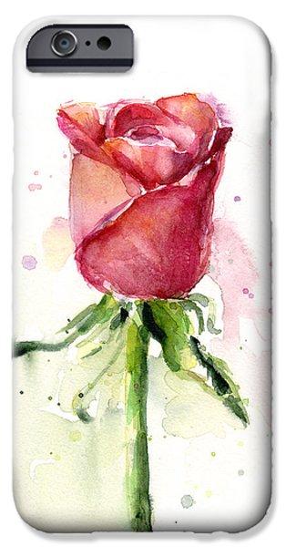 Rose Watercolor IPhone Case by Olga Shvartsur