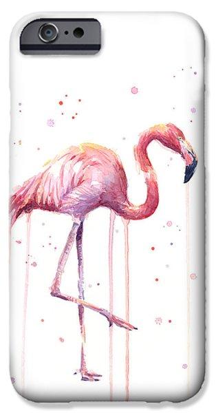 Pink Watercolor Flamingo IPhone Case by Olga Shvartsur