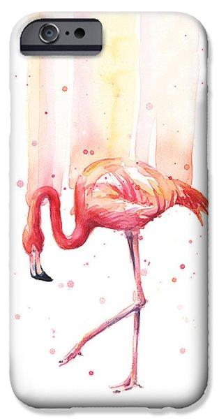 Flamingo Watercolor IPhone Case by Olga Shvartsur
