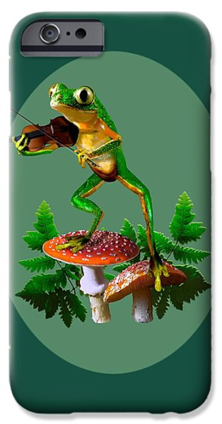 Humorous Tree Frog Playing A Fiddle IPhone Case by Regina Femrite