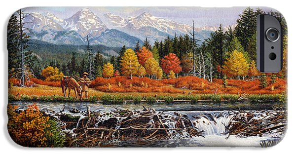 Western Mountain Landscape Autumn Mountain Man Trapper Beaver Dam Frontier Americana Oil Painting IPhone 6s Case by Walt Curlee