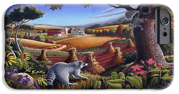 Rural Country Farm Life Landscape Folk Art Raccoon Squirrel Rustic Americana Scene  IPhone Case by Walt Curlee