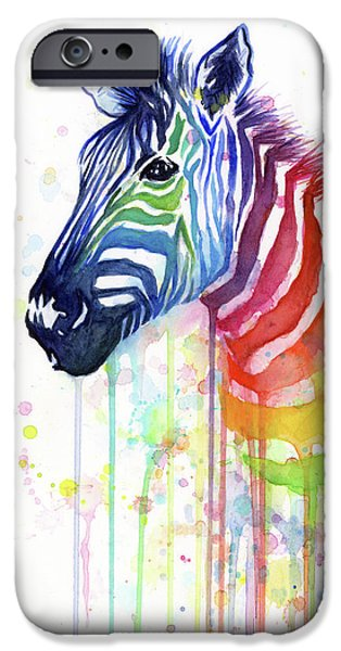Rainbow Zebra - Ode To Fruit Stripes IPhone Case by Olga Shvartsur