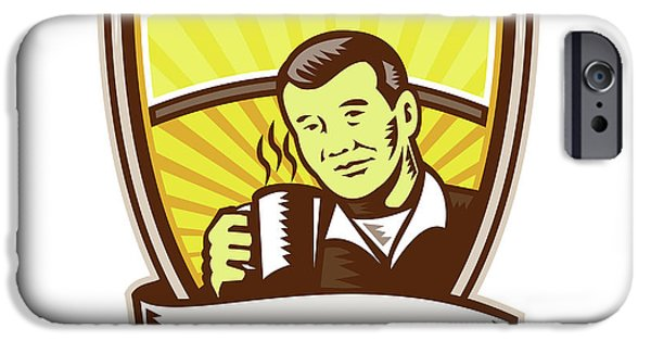 Asian Man Drinking Coffee Crest Woodcut IPhone Case by Aloysius Patrimonio