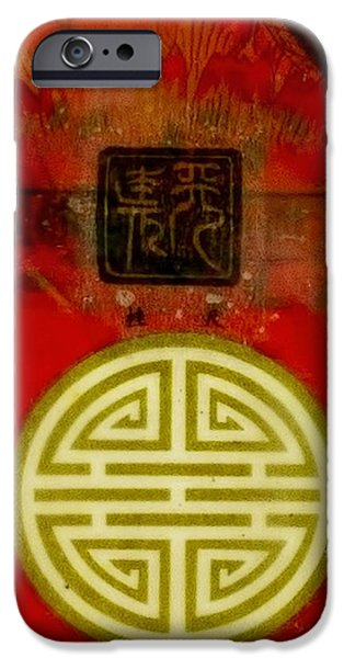 Asian Red Encaustic IPhone Case by Bellesouth Studio
