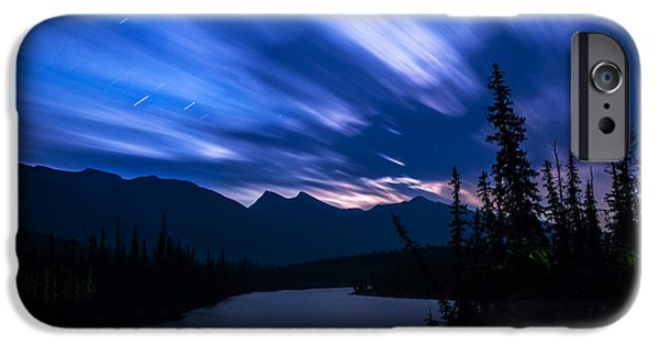 Athabasca River Moonrise Long Exposure IPhone Case by Cale Best