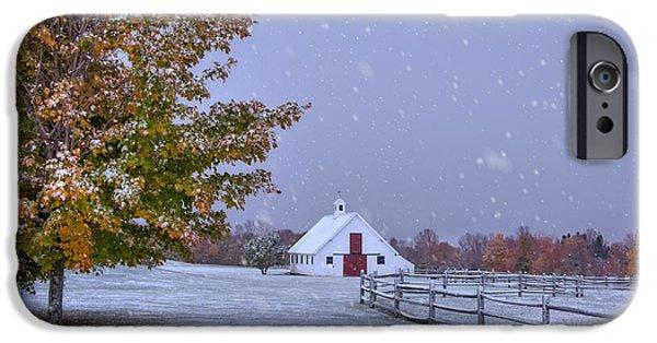 Autumn Barn In Snow - Vermont IPhone Case by Joann Vitali