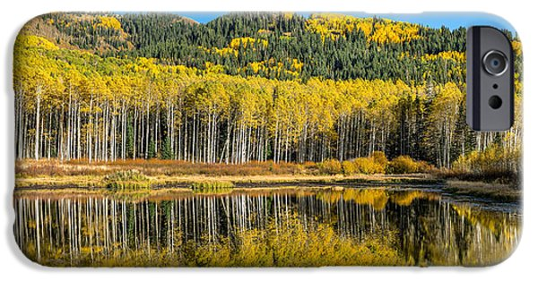 Autumn Trees Reflecting On Willow Lake In Utah IPhone Case by James Udall