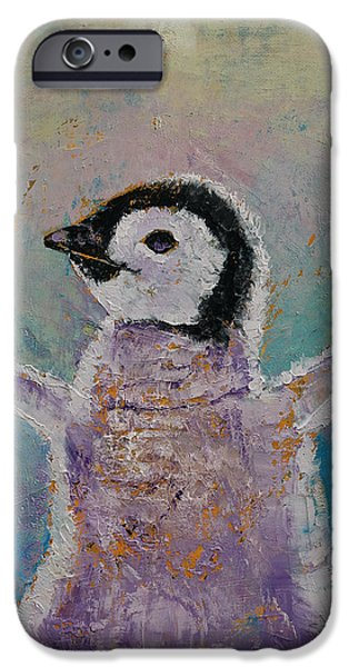 Baby Penguin IPhone Case by Michael Creese