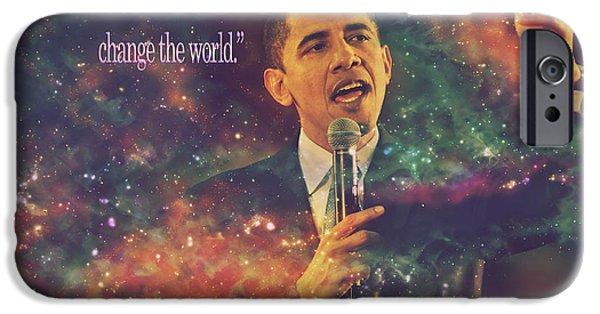 Barack Obama Quote Digital Artwork IPhone Case by Georgeta Blanaru
