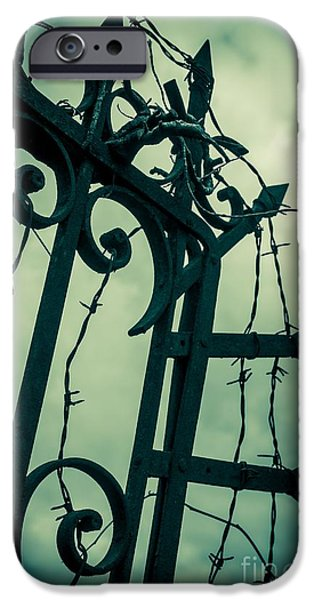 Barbed Wire Gate IPhone Case by Carlos Caetano
