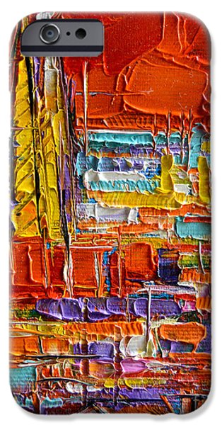 Barcelona View From Parc Guell - Abstract Miniature IPhone Case by Mona Edulesco
