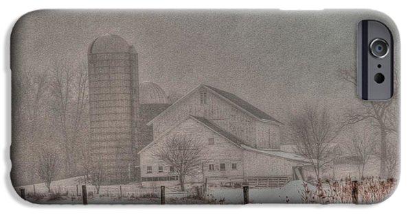 Barn In Fog IPhone Case by David Bearden
