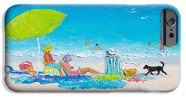 Beach Painting - Lazy Beach Day IPhone Case by Jan Matson
