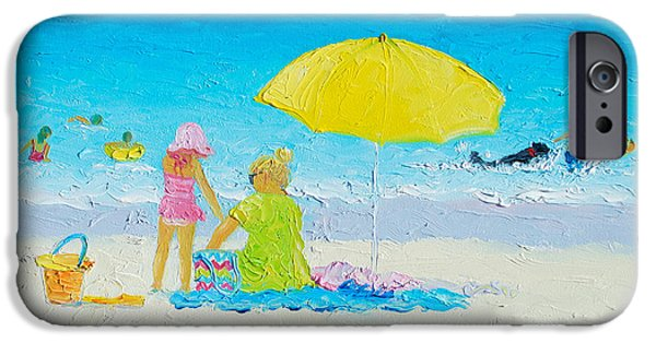Beach Painting - Yellow Umbrella IPhone Case by Jan Matson