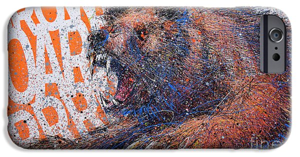 Bear On Orange IPhone Case by Michael Glass