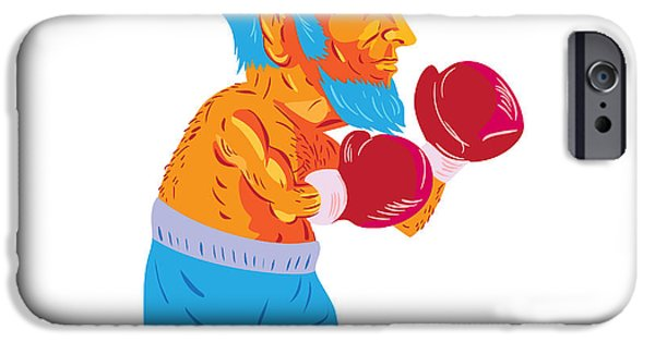 Bearded Boxer Boxing Cartoon Wpa IPhone Case by Aloysius Patrimonio