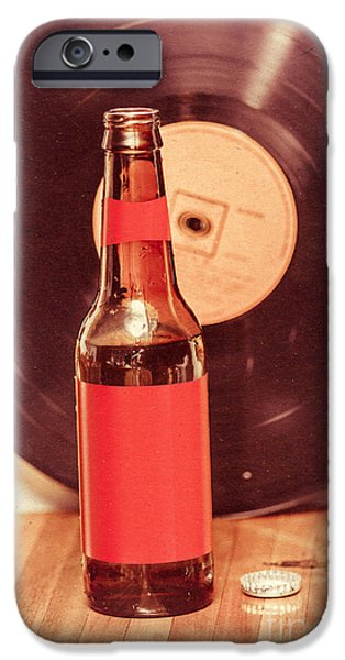 Beer Bottle On Bar Counter Top With Vinyl Record IPhone Case by Jorgo Photography - Wall Art Gallery