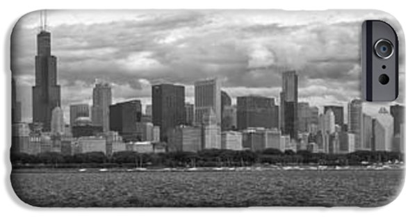 Before The Spring Storm Chicago Lakefront Panorama 05 Bw IPhone Case by Thomas Woolworth