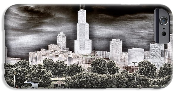 Before The Spring Storm Chicago Sears Willis Tower Textured IPhone Case by Thomas Woolworth