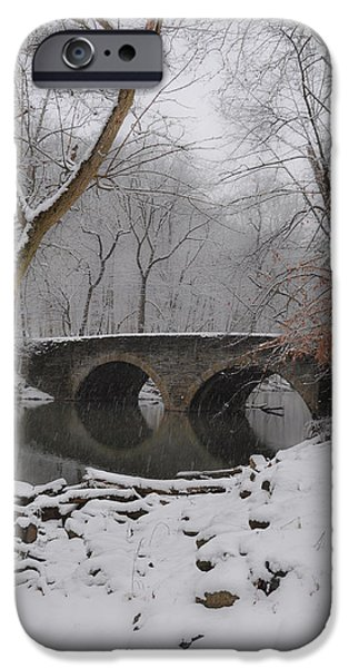 Bells Mill Bridge On A Snowy Day IPhone Case by Bill Cannon