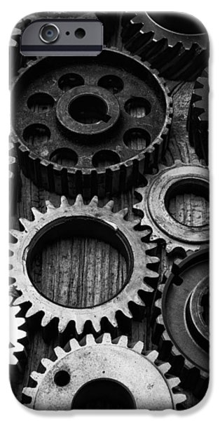 Black And White Gears IPhone Case by Garry Gay