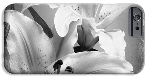 Black And White Grunge Lilies IPhone Case by Georgiana Romanovna