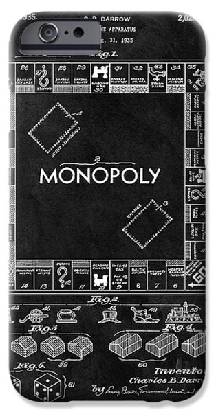 Black And White Monopoly Game Patent IPhone Case by Dan Sproul