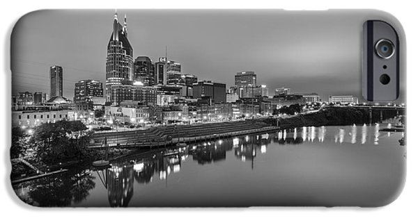 Black And White Of Nashville Tennessee Skyline Sunrise  IPhone Case by Jeremy Holmes