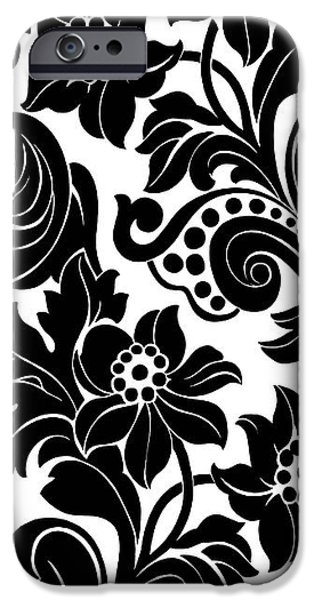 Black Floral Pattern On White With Dots IPhone Case by Gillham Studios