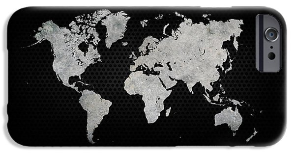 Black Metal Industrial World Map IPhone Case by Douglas Pittman