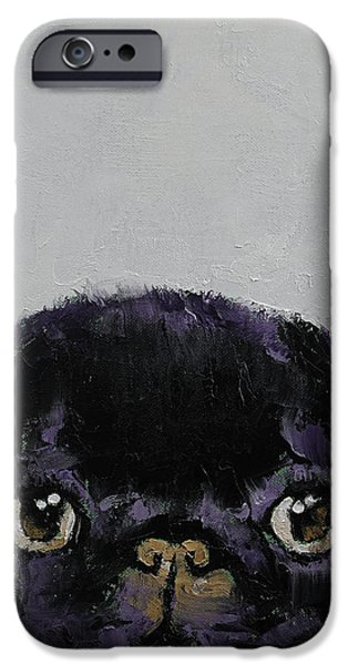 Black Pug IPhone Case by Michael Creese