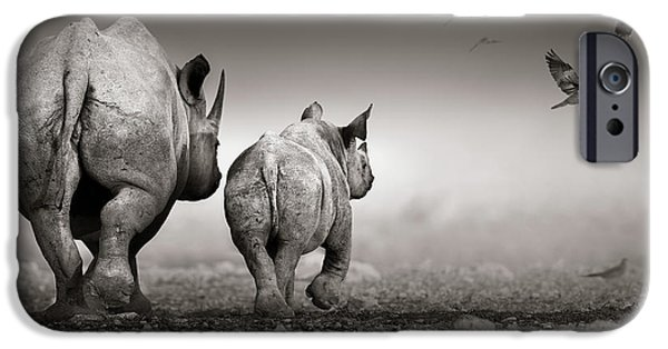 Black Rhino Cow With Calf  IPhone Case by Johan Swanepoel