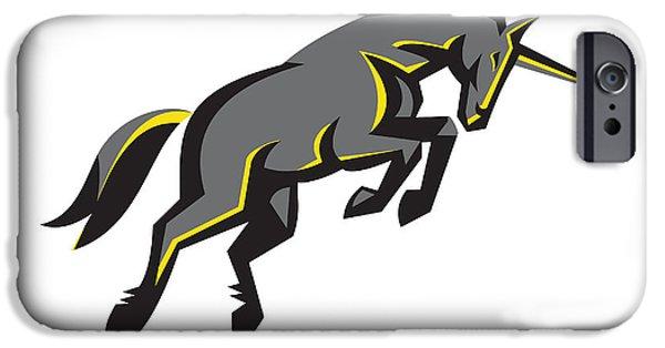 Black Unicorn Horse Charging Isolated Retro IPhone 6s Case by Aloysius Patrimonio