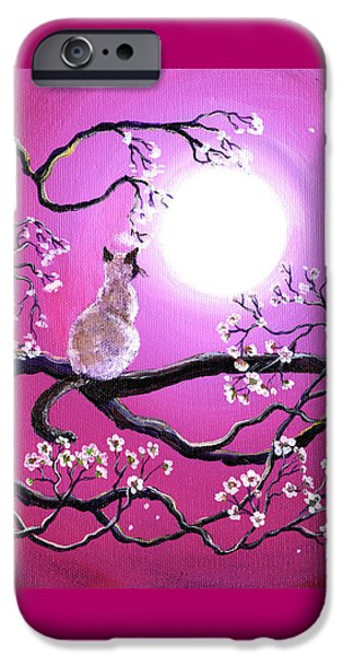 Blossoms In Fuchsia Moonlight IPhone Case by Laura Iverson