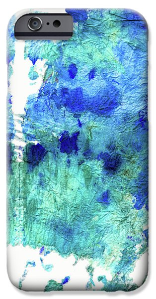 Blue And Aqua Abstract - Wishing Well - Sharon Cummings IPhone Case by Sharon Cummings
