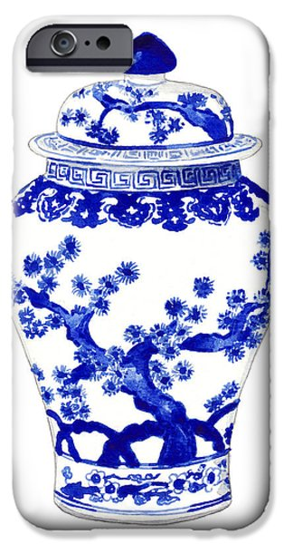 Blue And White Ginger Jar Chinoiserie 10 IPhone Case by Laura Row