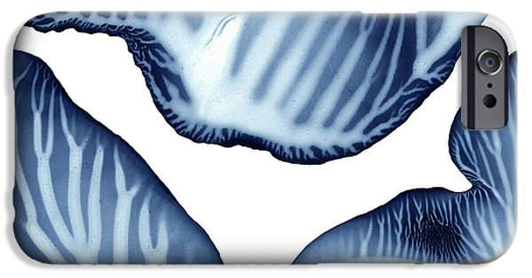 Blue And White Serenity Sea Square 2 Monoprint IPhone Case by Amy Vangsgard