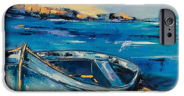 Blue Boat On The Mediterranean Beach IPhone Case by Elise Palmigiani