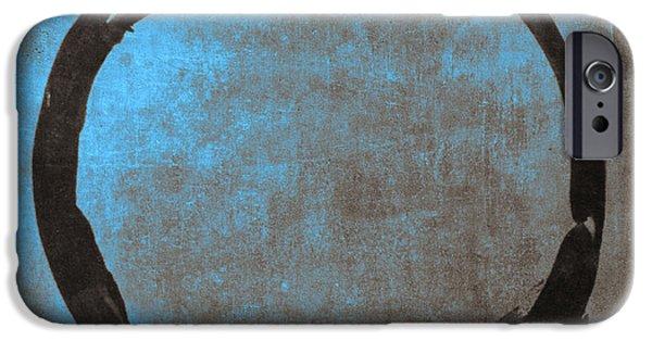 Blue Brown Enso IPhone Case by Julie Niemela