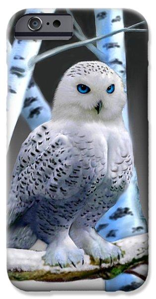 Blue-eyed Snow Owl IPhone Case by Glenn Holbrook